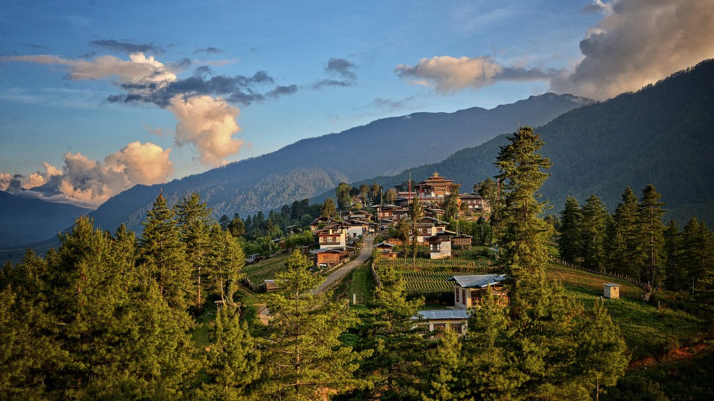 Trekking to Gangety valley in Bhutan.