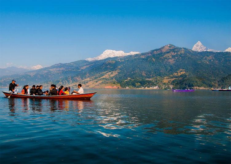 Boating on Fewa (Phewa) lake at Pokhara