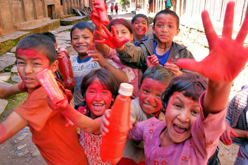 Holi Festival in Nepal with Kids
