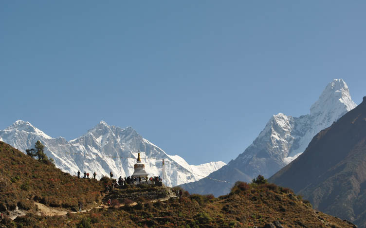 Monastery and mountains, Everest Base Camp trail