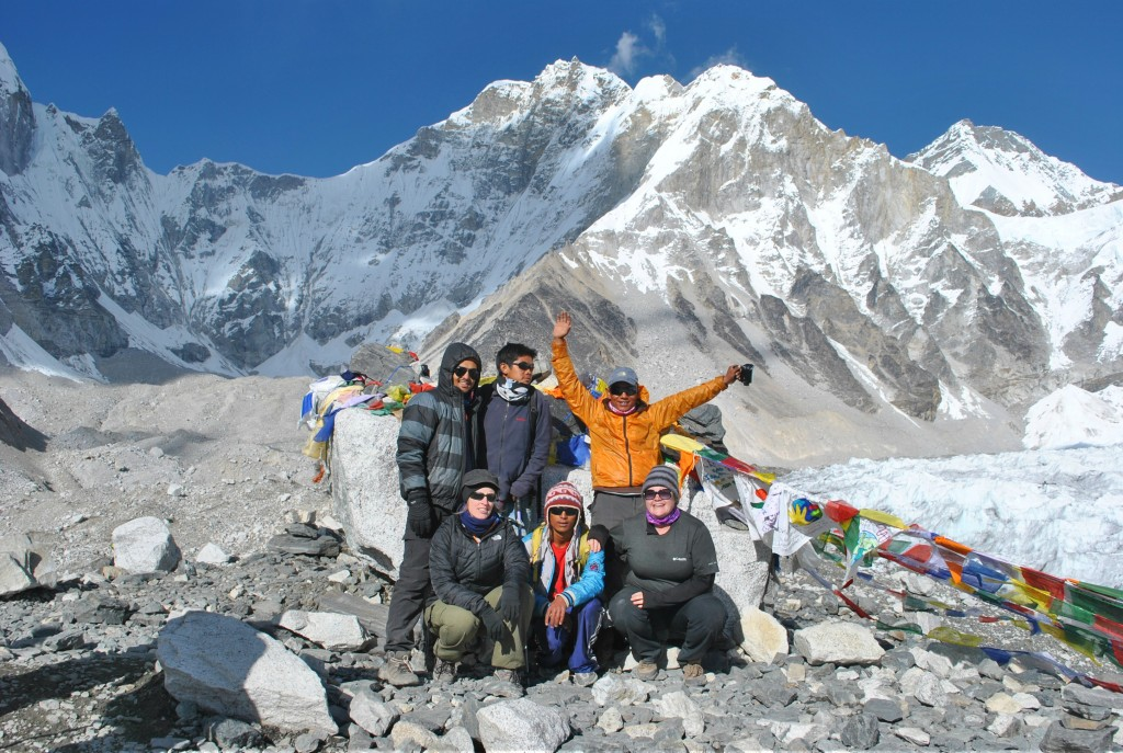 Trekking to Everest Base Camp, a team of 3 british clients and two sherpas made to Everest Base Camp.