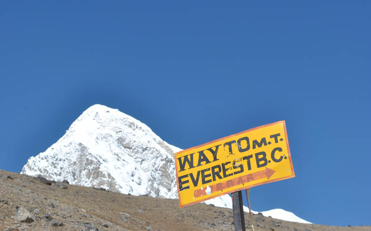 Sign showing way to Mount Everest Base Camp.