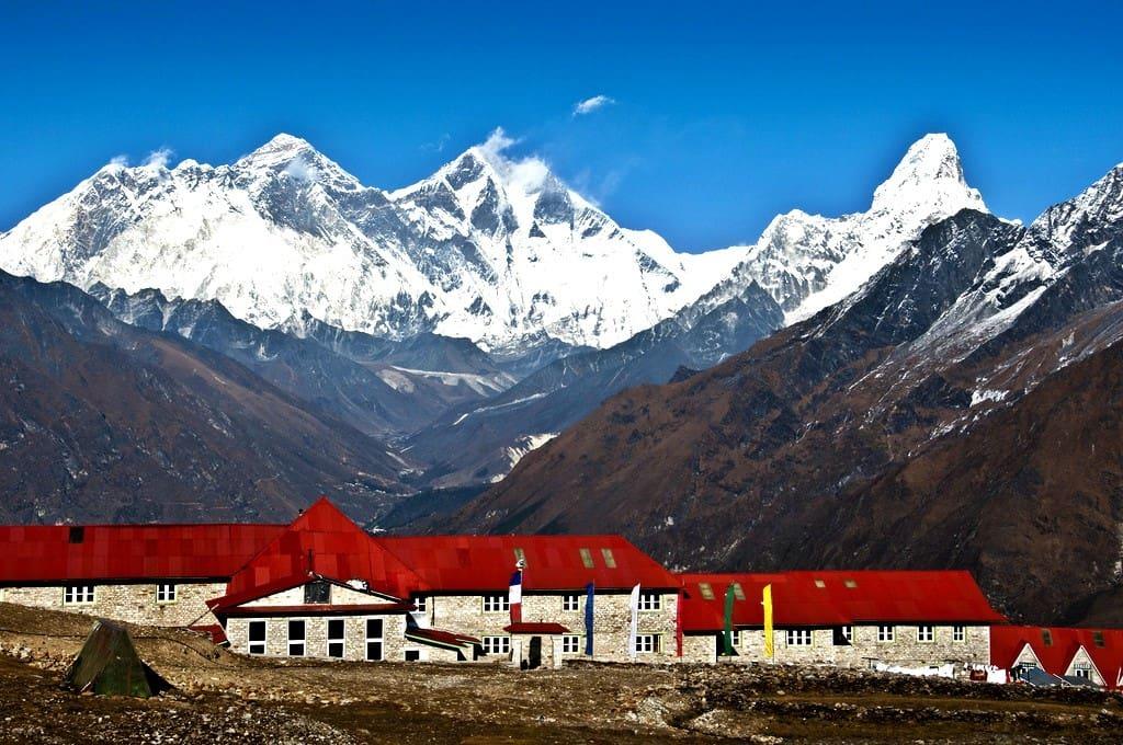 Everest Panorama Luxury Trek with view on Nuptse, Everest, Lhotse and Ama Dablam. Kongde at 4200m, Kumbhu region in Nepal.